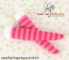 (B/P) Knee Lace Top Socks ( KS-L61 ) Stripe Pink Mix