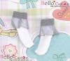 【KS-A02】(B/P) Lace Top Ankle Socks # White+Grey