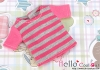 87.Blythe/Pullip T-Shirt ( NS-12N ) Stripe Pink+Grey