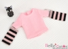 341.【NT-10】Blythe Pullip(Separate Sleeves)Tee # Stripe Pink