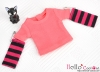 338.【NT-7】Blythe Pullip(Separate Sleeves)Tee # Stripe Deep Pink