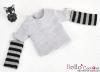 340.【NT-9】Blythe Pullip(Separate Sleeves)Tee # Stripe Grey