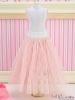 91.【PS-02】Blythe/Pullip Long Tulle Ball Skirt(Dot)# Pink