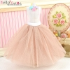 223.【PS-8】Blythe/Pullip Long Tulle Ball Skirt # Pale Cocoa