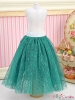 163.【PS-13】Blythe/Pullip Long Tulle Ball Skirt(Dot)# Forest Green