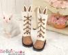 【25-2】B/P Cute Bunny Ears 5 Hole Boots # Brown