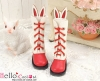 【25-5】B/P Cute Bunny Ears 5 Hole Boots # Red