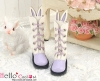 【25-7】B/P Cute Bunny Ears 5 Hole Boots # Violet