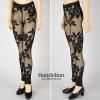 H77.【ST-08】SD/DD Legging Pants # Net Flower Black