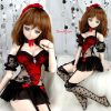 T32.【Vol.YD-59】Sexy Halter Lace Lingerie Set(Dy)# Black+Red